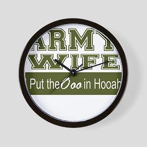 Army Wife Ooo in Hooah_Green Wall Clock