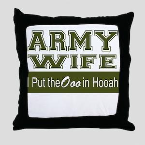 Army Wife Ooo in Hooah_Green Throw Pillow