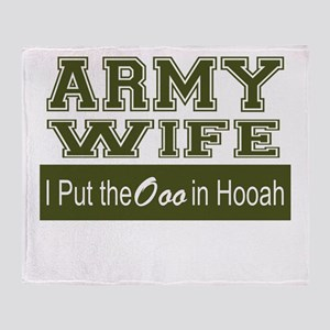 Army Wife Ooo in Hooah_Green Throw Blanket