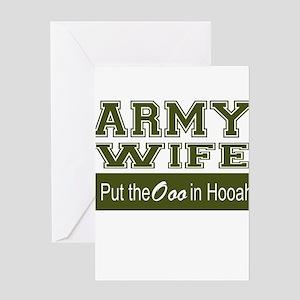Army Wife Ooo in Hooah_Green Greeting Cards