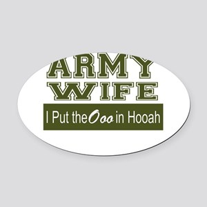 Army Wife Ooo in Hooah_Green Oval Car Magnet