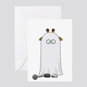 Giraffe dressed up as Ghost Greeting Cards