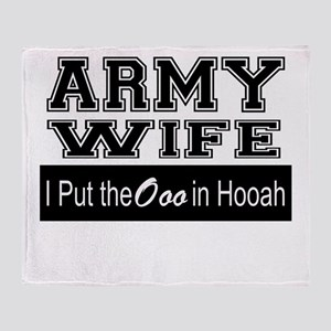 Army Wife Ooo in Hooah_Black Throw Blanket