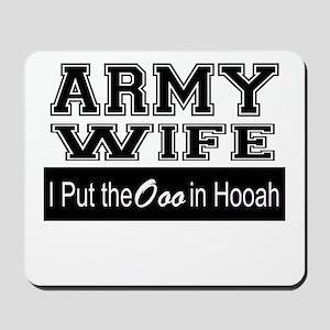 Army Wife Ooo in Hooah_Black Mousepad