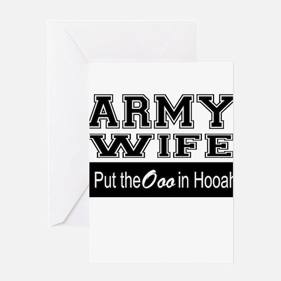 Army Wife Ooo in Hooah_Black Greeting Cards