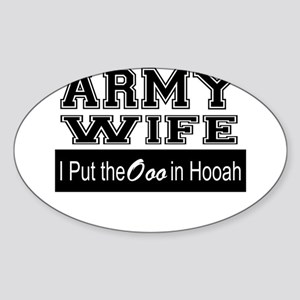 Army Wife Ooo in Hooah_Black Sticker