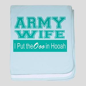 Army Wife Ooo in Hooah_Teal baby blanket