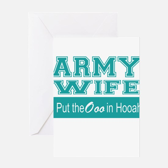 Army Wife Ooo in Hooah_Teal Greeting Cards