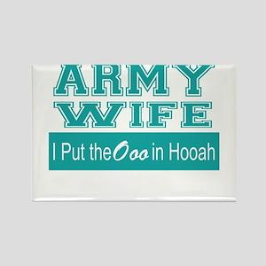 Army Wife Ooo in Hooah_Teal Magnets