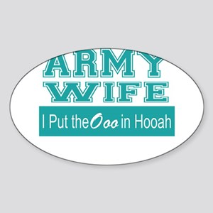 Army Wife Ooo in Hooah_Teal Sticker