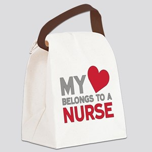 My Heart Belongs to A Nurse Canvas Lunch Bag