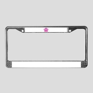 PinkStarNavyMother License Plate Frame