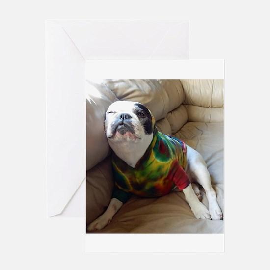 French Bulldog in Tie Dye Greeting Cards