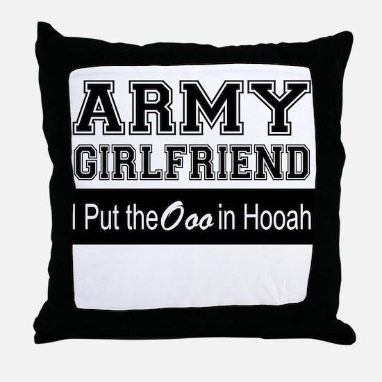 Army Girlfriend Ooo in Hooah_Black Throw Pillow