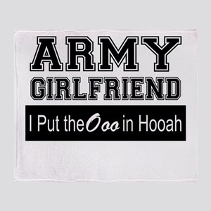 Army Girlfriend Ooo in Hooah_Black Throw Blanket