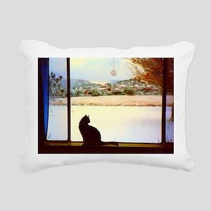 Tosca's Winter Window Rectangular Canvas Pillow
