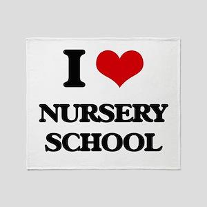 I Love Nursery School Throw Blanket