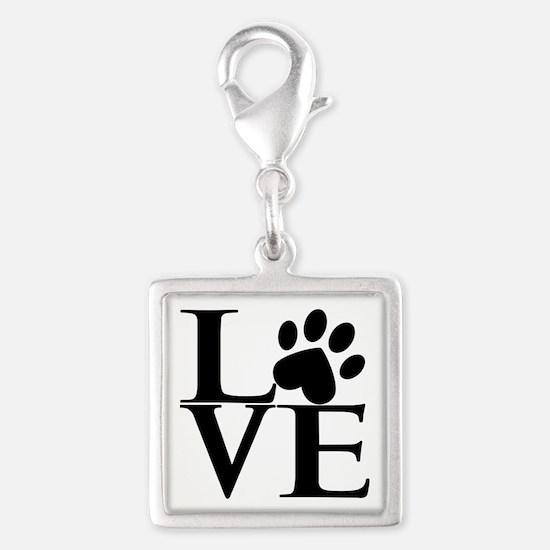 Animal LOVE Silver Square Charm
