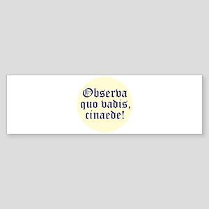 Observa quo vadis, cinaede! Bumper Sticker