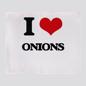 I Love Onions Throw Blanket
