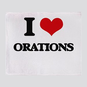 I Love Orations Throw Blanket
