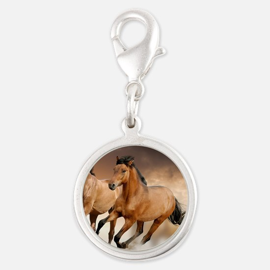 running horses Silver Round Charm
