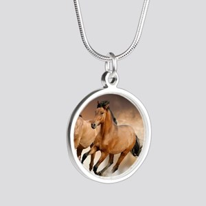 running horses Silver Round Necklace