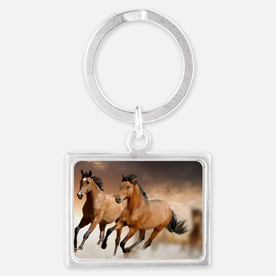 running horses Landscape Keychain
