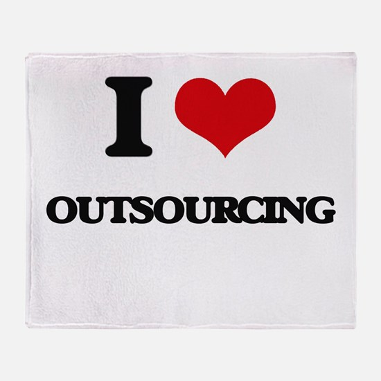 I Love Outsourcing Throw Blanket