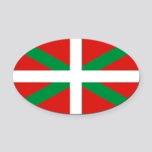 The Ikurriña, Basque flag Oval Car Magnet
