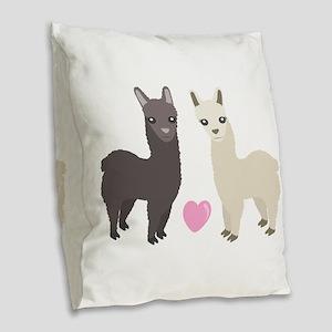 Alpaca Love Burlap Throw Pillow