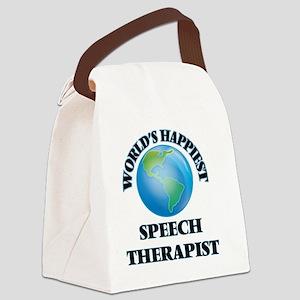 World's Happiest Speech Therapist Canvas Lunch Bag