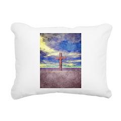 Christian Cross Landscape Rectangular Canvas Pillo