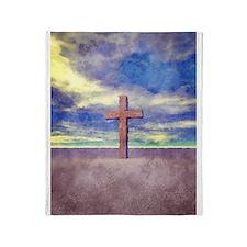 Christian Cross Landscape Throw Blanket