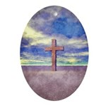 Christian Cross Landscape Ornament (Oval)