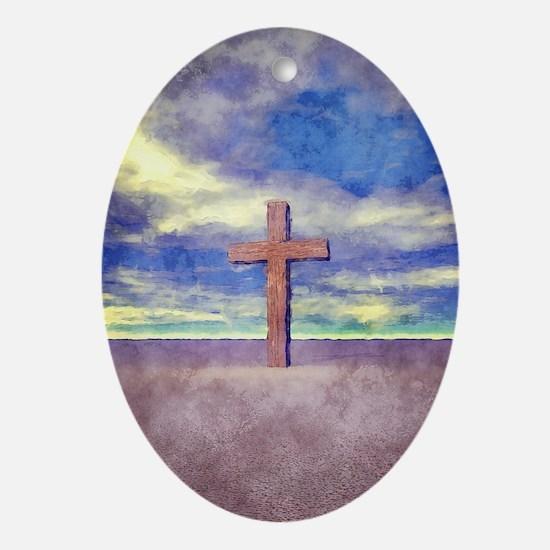 Christian Cross Landscape Ornament (Oval)