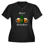 Beer Drinker Women's Plus Size V-Neck Dark T-Shirt