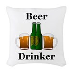 Beer Drinker Woven Throw Pillow