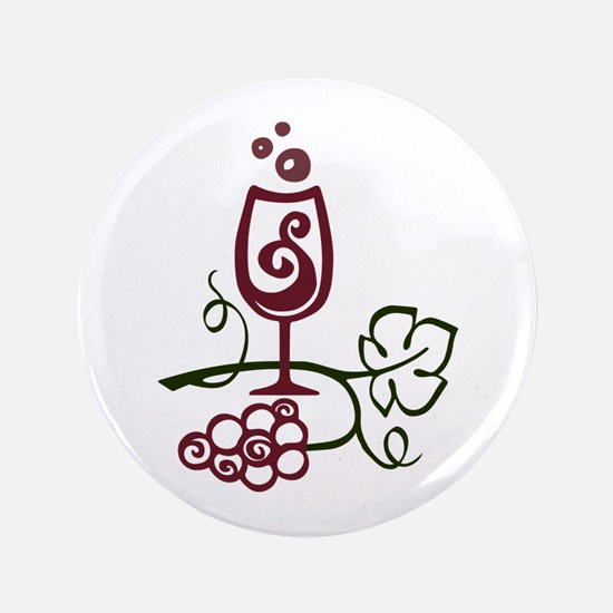 "WINE GLASS AND GRAPES 3.5"" Button"