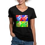 acoustic pop Women's V-Neck Dark T-Shirt