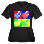acoustic pop Women's Plus Size V-Neck Dark T-Shirt