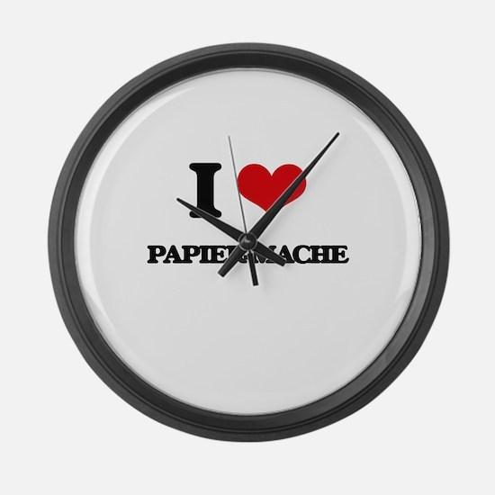 I Love Papier-Mache Large Wall Clock