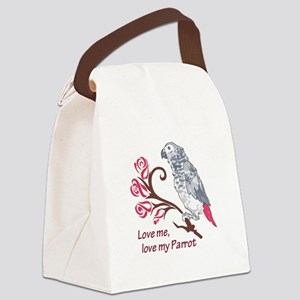 LOVE ME LOVE MY PARROT Canvas Lunch Bag