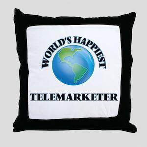 World's Happiest Telemarketer Throw Pillow
