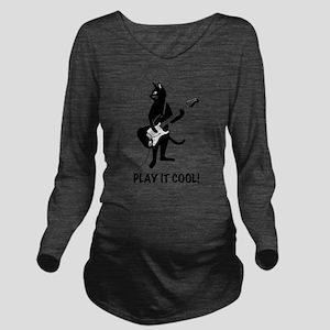 Cat Plays the Guitar Long Sleeve Maternity T-Shirt