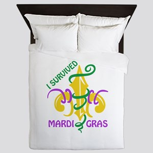 I SURVIVED MARDI GRAS Queen Duvet