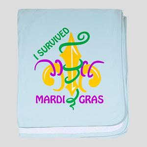 I SURVIVED MARDI GRAS baby blanket