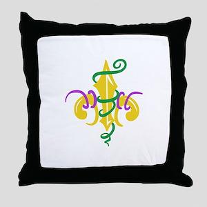 MARDI GRAS LE FLUER Throw Pillow