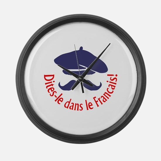 SAY IT IN FRENCH Large Wall Clock