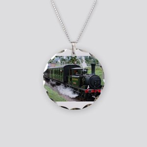 Steam Train Necklace Circle Charm